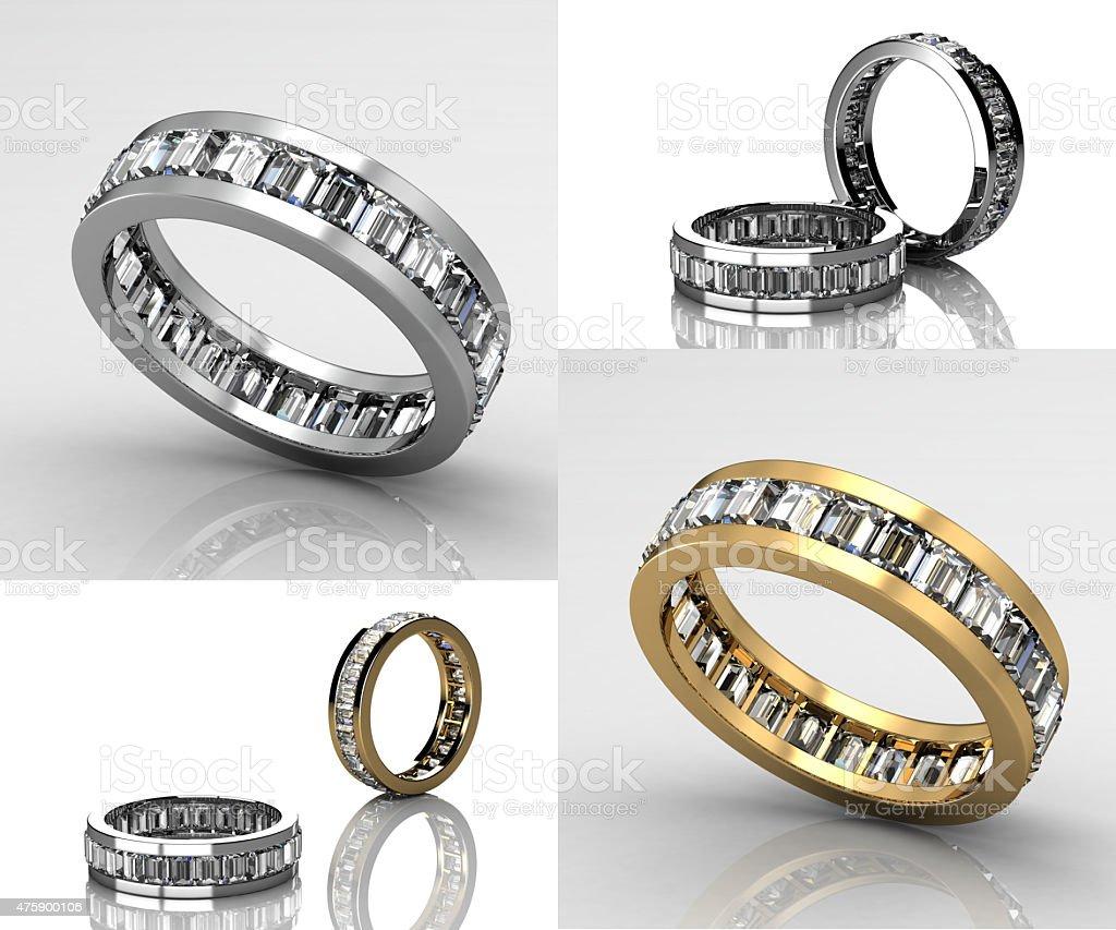 Set Of Wedding Ring with Diamond. Fashion Jewelry background vector art illustration