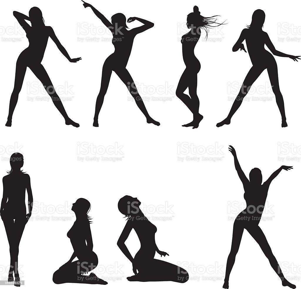 Set of woman silhouettes vector art illustration