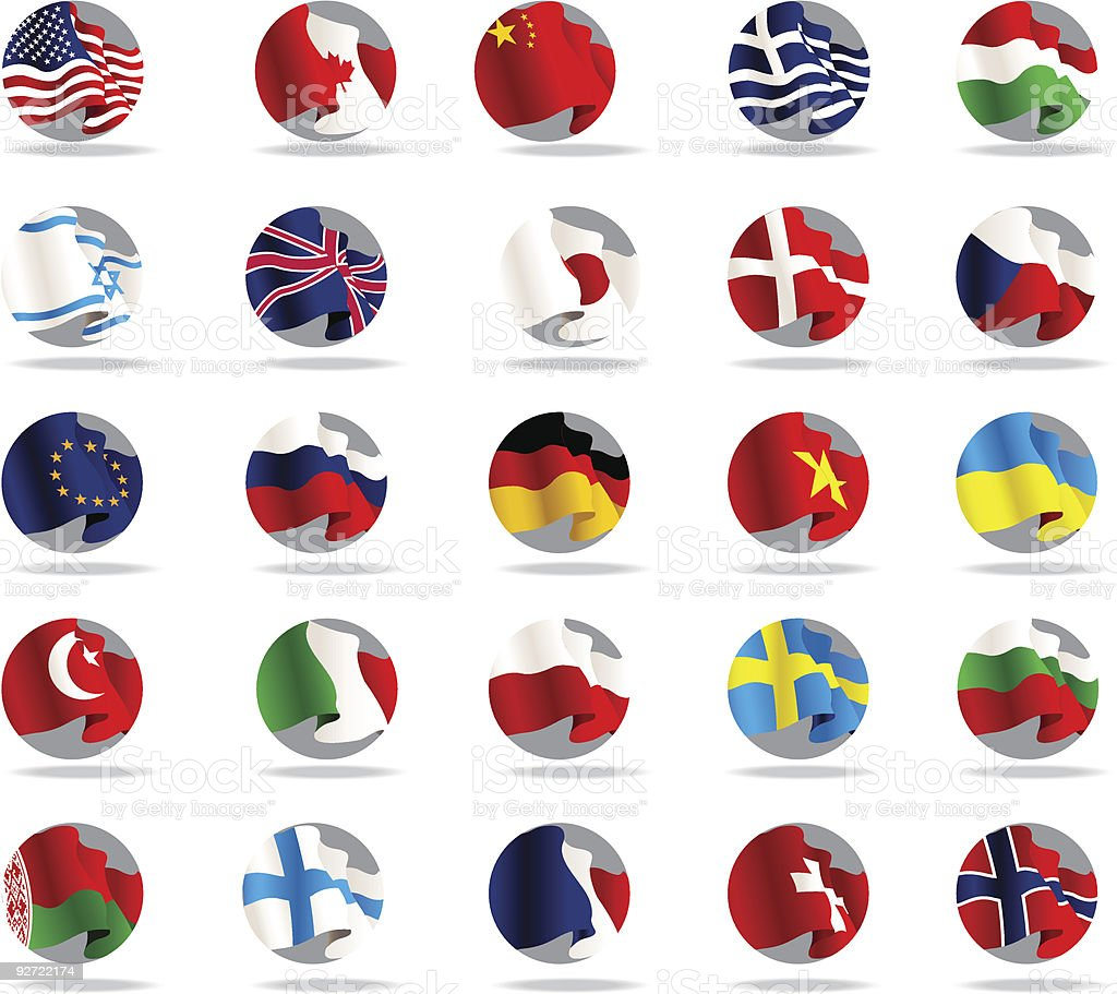Set of world flags icons. royalty-free stock vector art