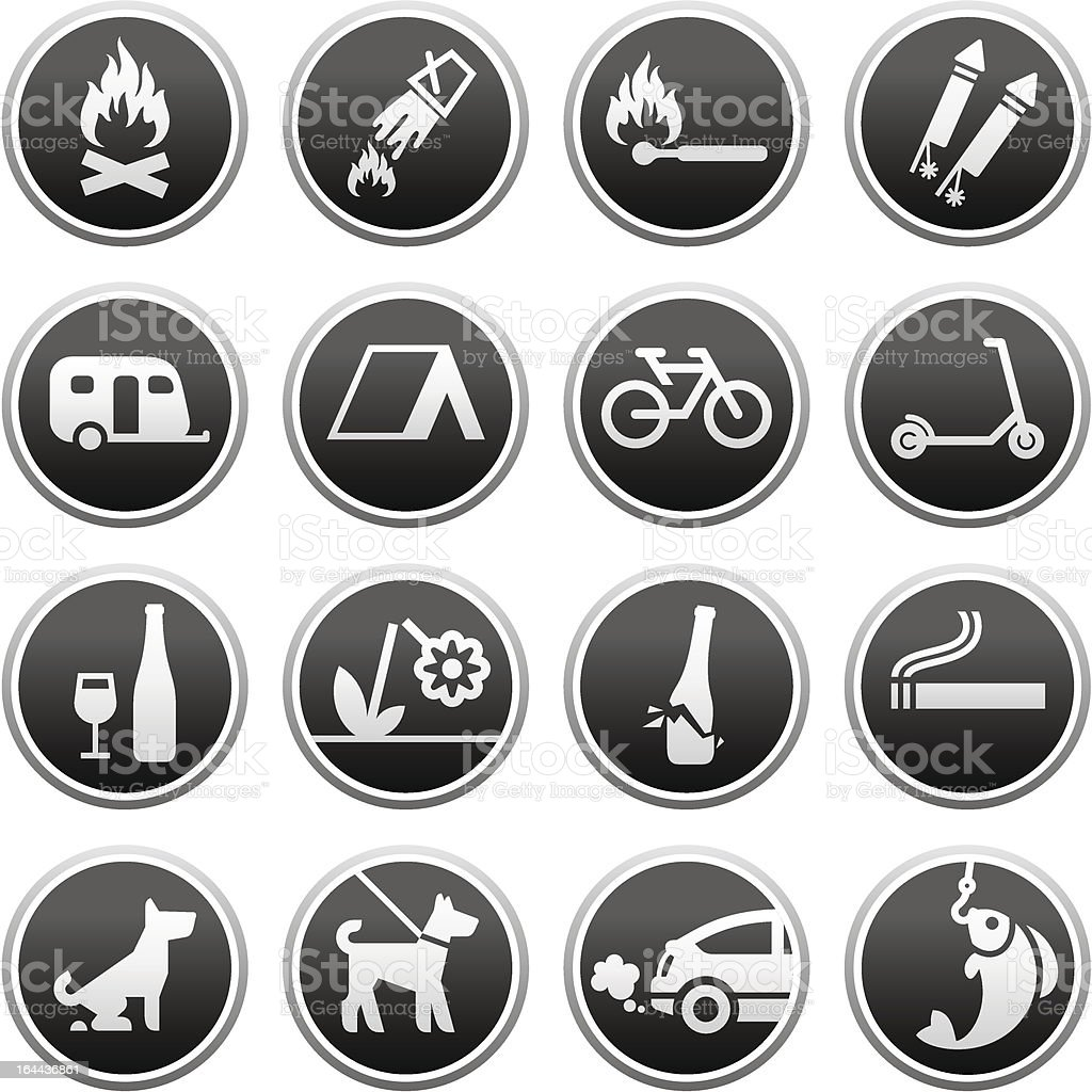 Set Prohibited Signs, nature symbols vector art illustration