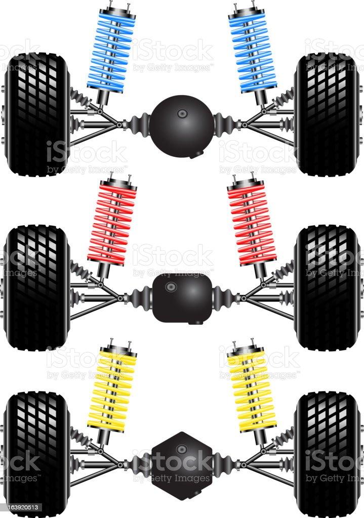 Set rear suspension car royalty-free stock vector art