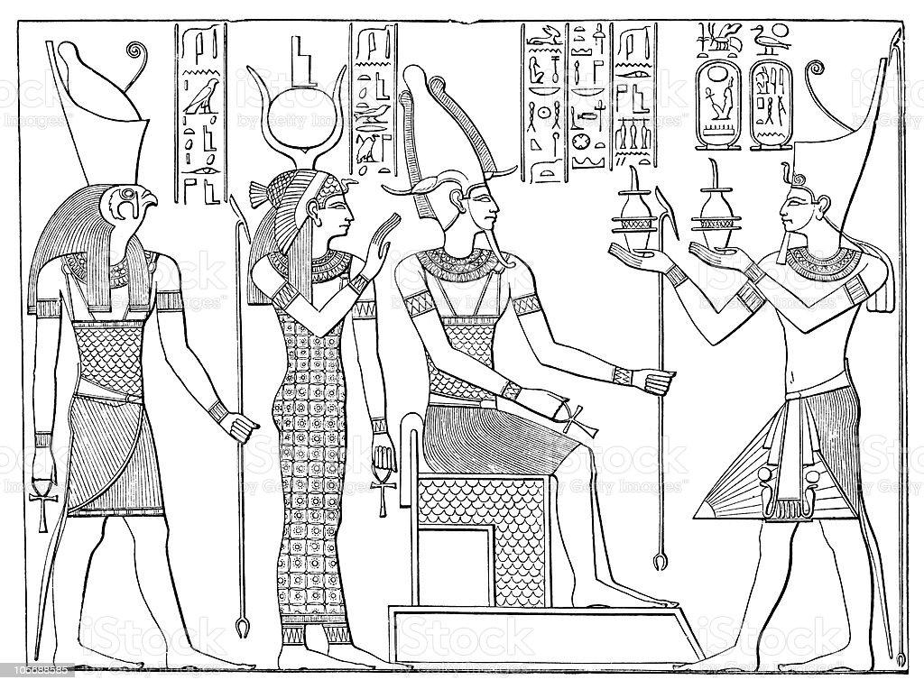 Seti I Worships Isis, Osiris and Horus at Abydos royalty-free stock vector art