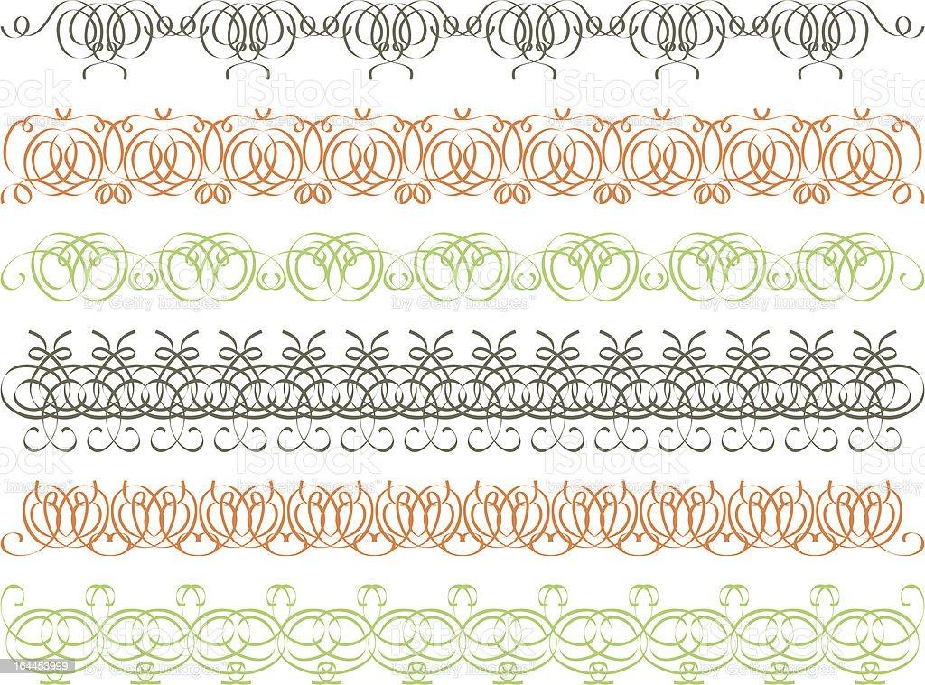 seven calligraphic decorative lines royalty-free stock vector art