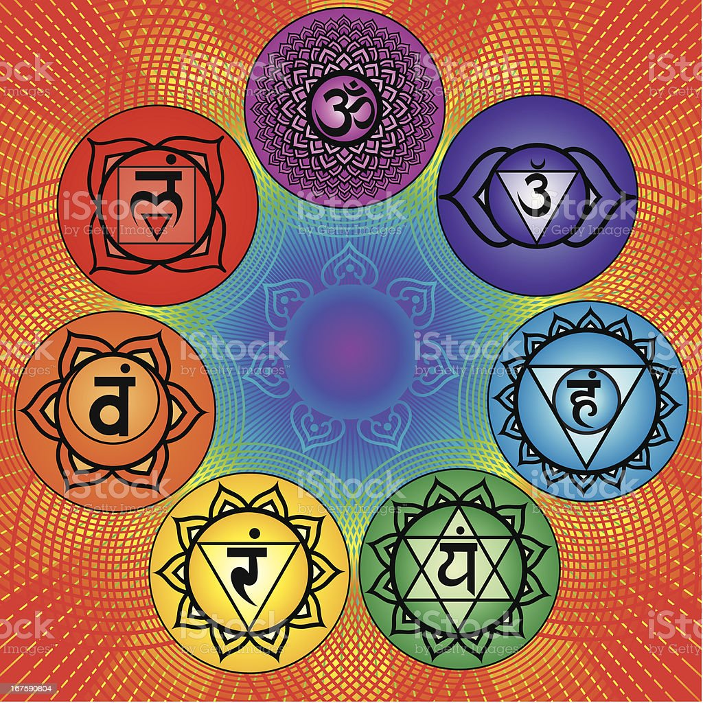 Seven chakra vector art illustration