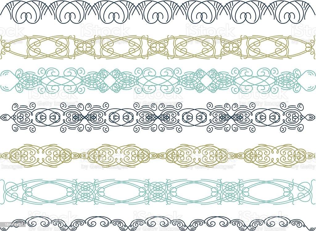 seven decorative lines royalty-free stock vector art