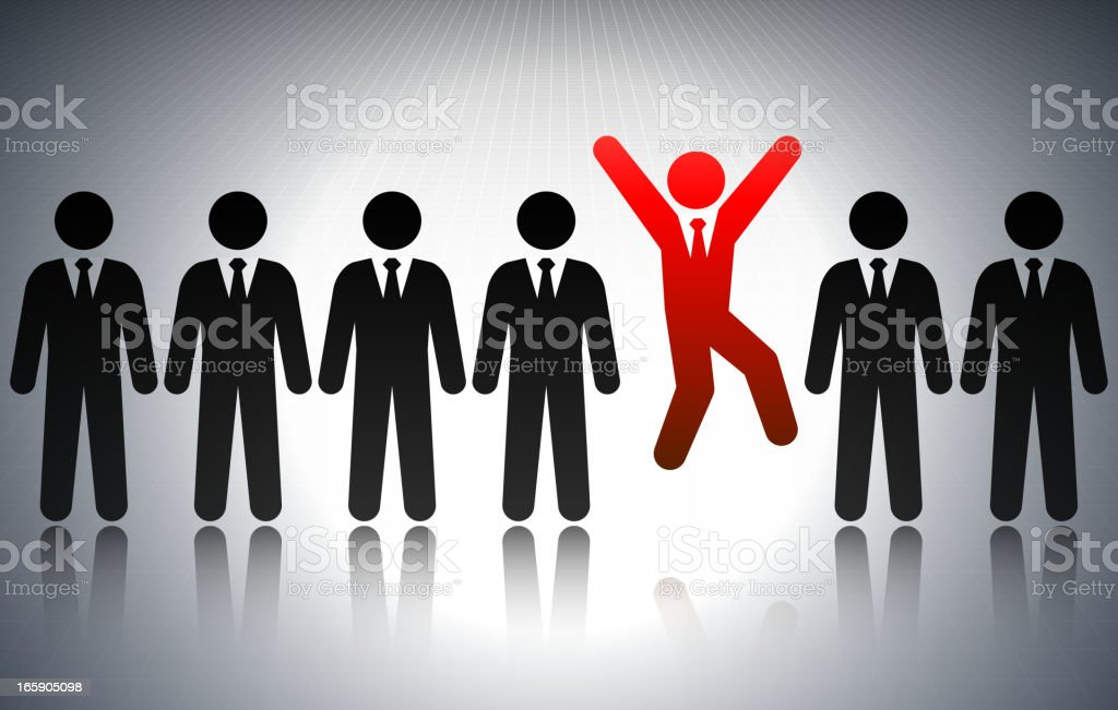 Seven stick figures in business suits, vector royalty-free stock vector art