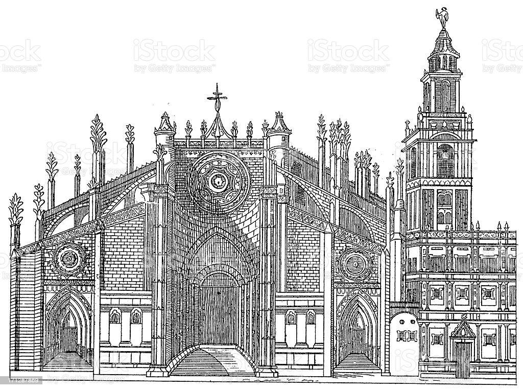 'Seville Cathedral, Spain | Antique Architectural Illustrations' vector art illustration