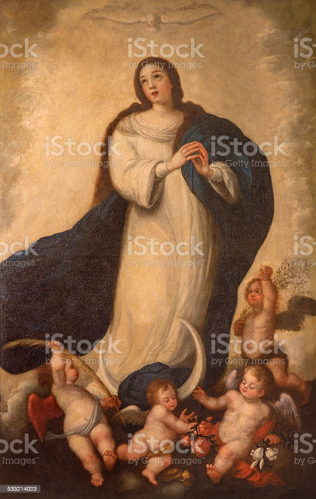 Seville - The Immaculate conception paint vector art illustration