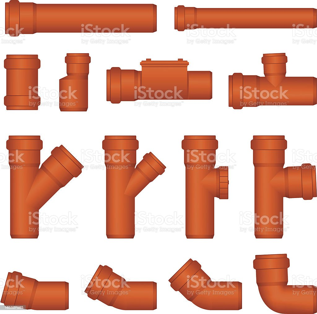 PVC sewer pipe vector art illustration