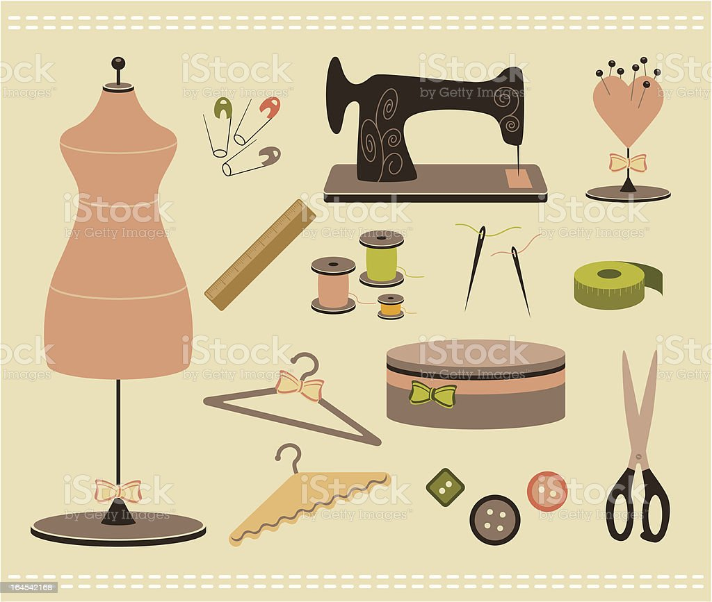 Sewing accessories royalty-free stock vector art