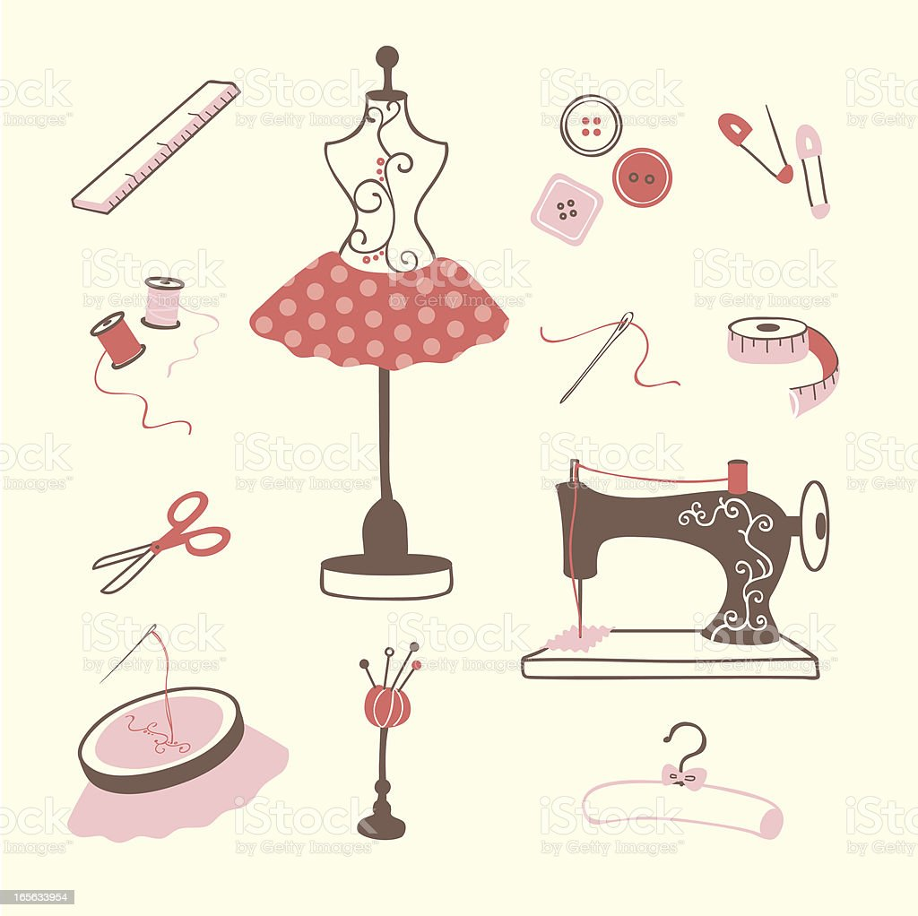 sewing and embroidery icons vector art illustration