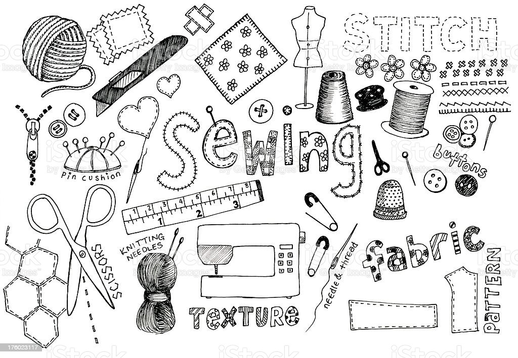 Sewing doodles vector art illustration