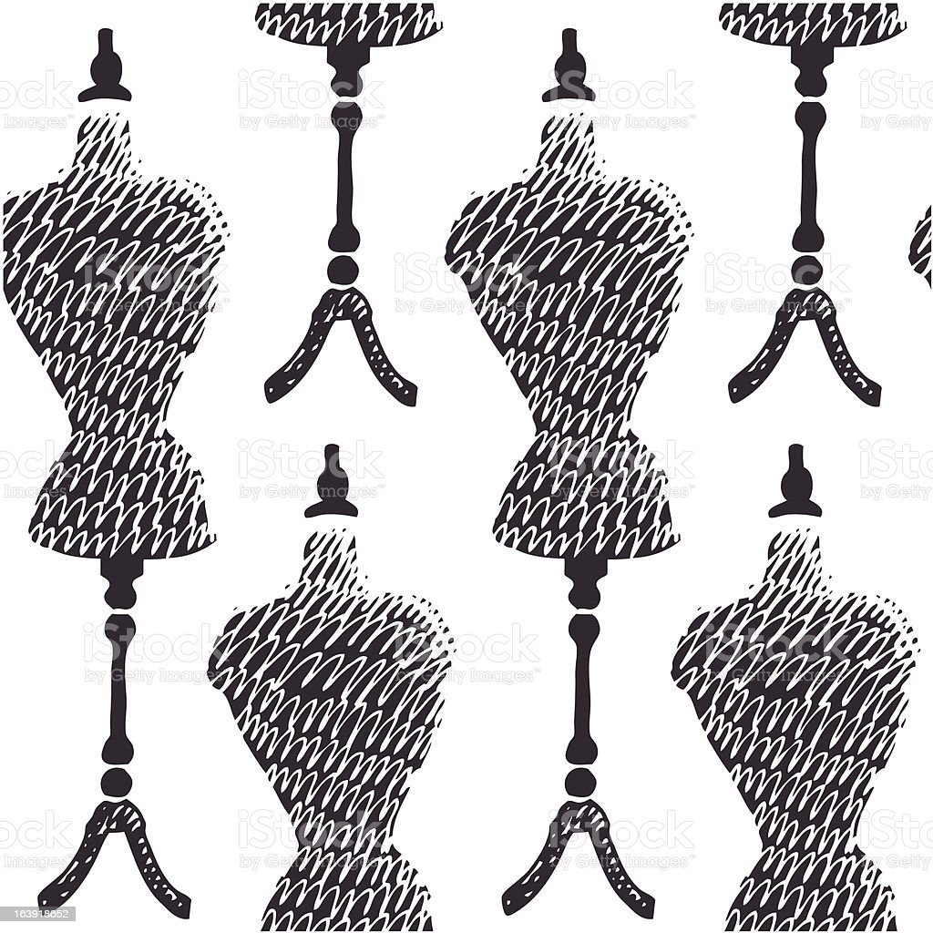 Sewing mannequin background vector art illustration