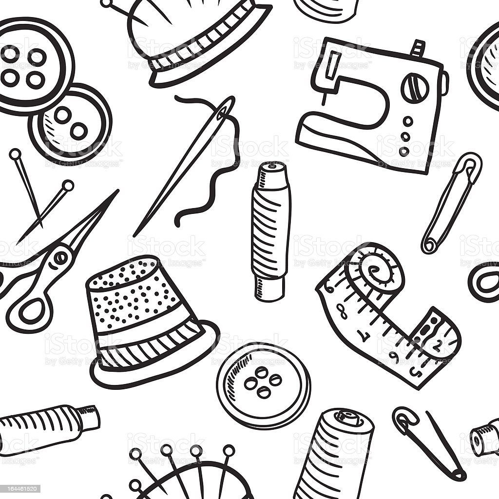 Sewing seamless pattern - hand drawn illustration royalty-free stock vector art