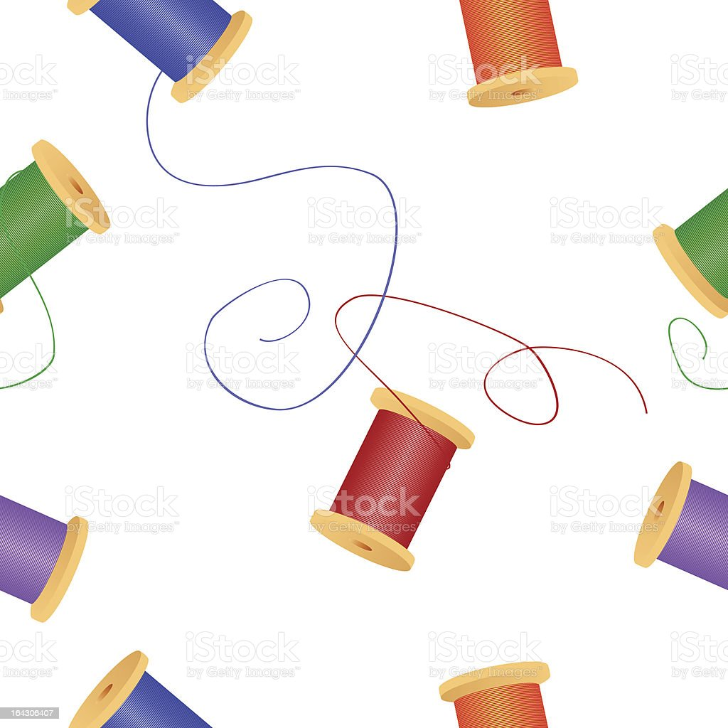 Sewing Series. Seamless thread spools background. royalty-free stock vector art