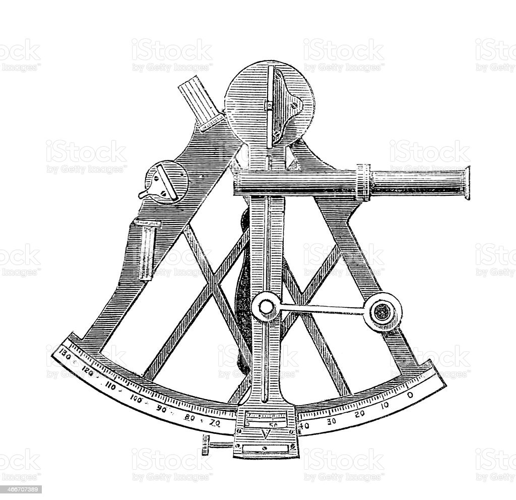 Sextant scientific drawing navigation stock photo