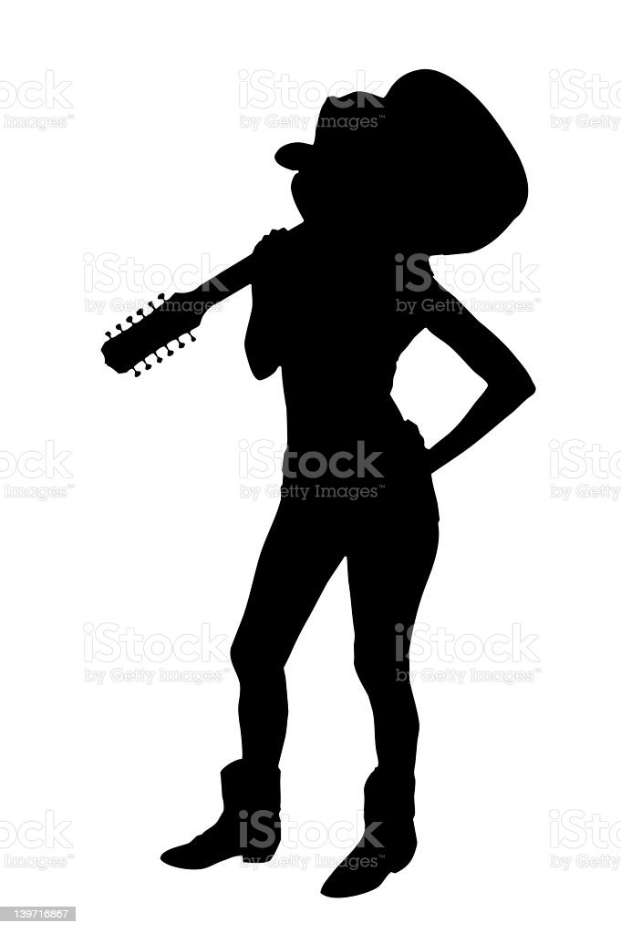 Sexy Cowgirl Silhouette vector art illustration