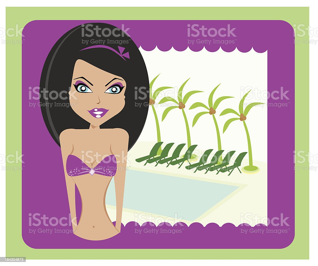 sexy woman in pink swimsuit royalty-free stock vector art