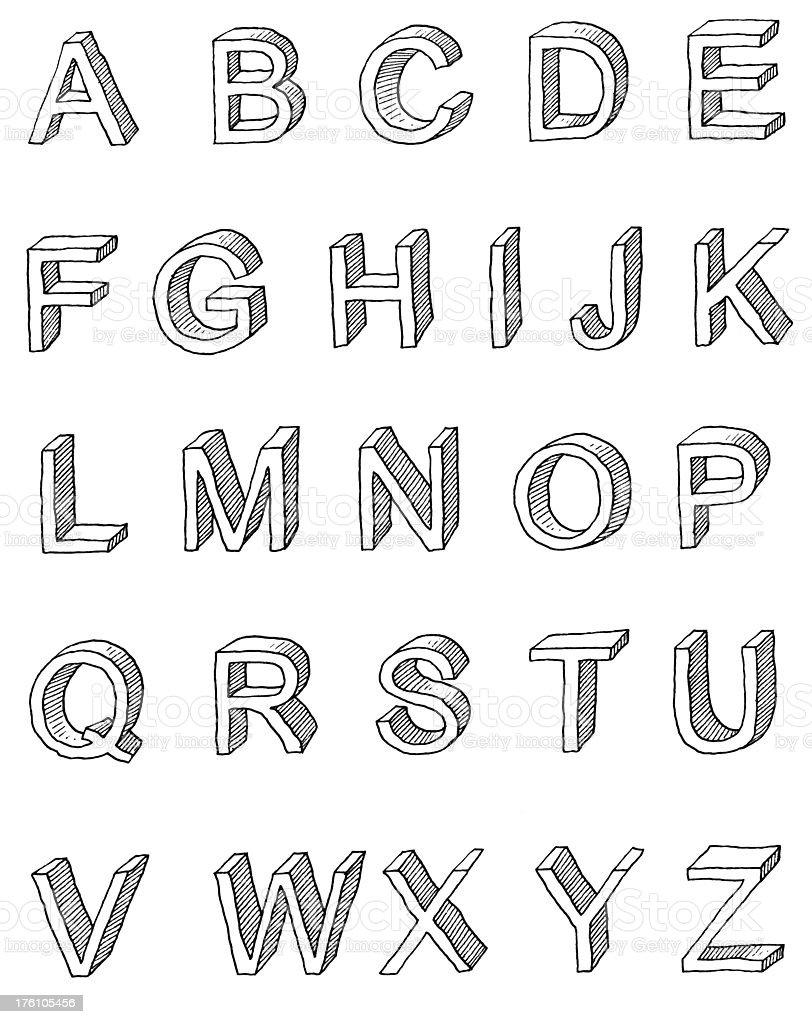 Shaded san serif capitals. vector art illustration