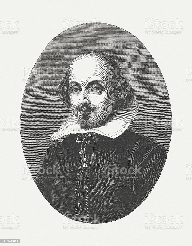 Shakespeare by William Shakespeare, wood engraving, published in 1864 royalty-free stock vector art