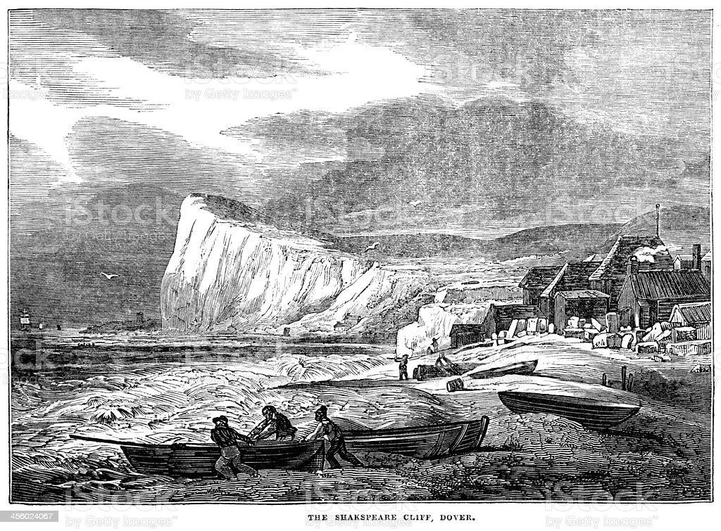 Shakespeare Cliff, Dover (Victorian engraving) vector art illustration