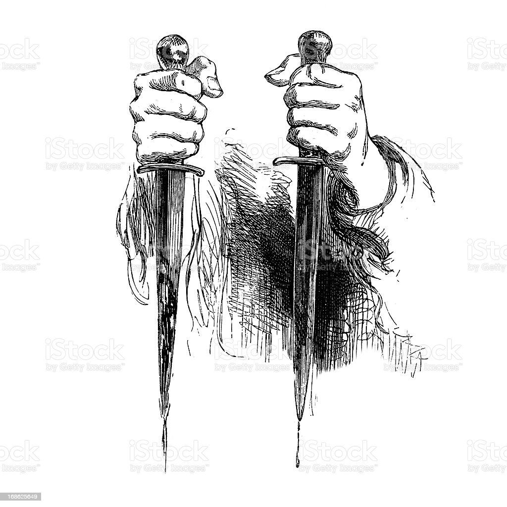 Shakespeare - Daggers from a Macbeth Scene royalty-free stock vector art