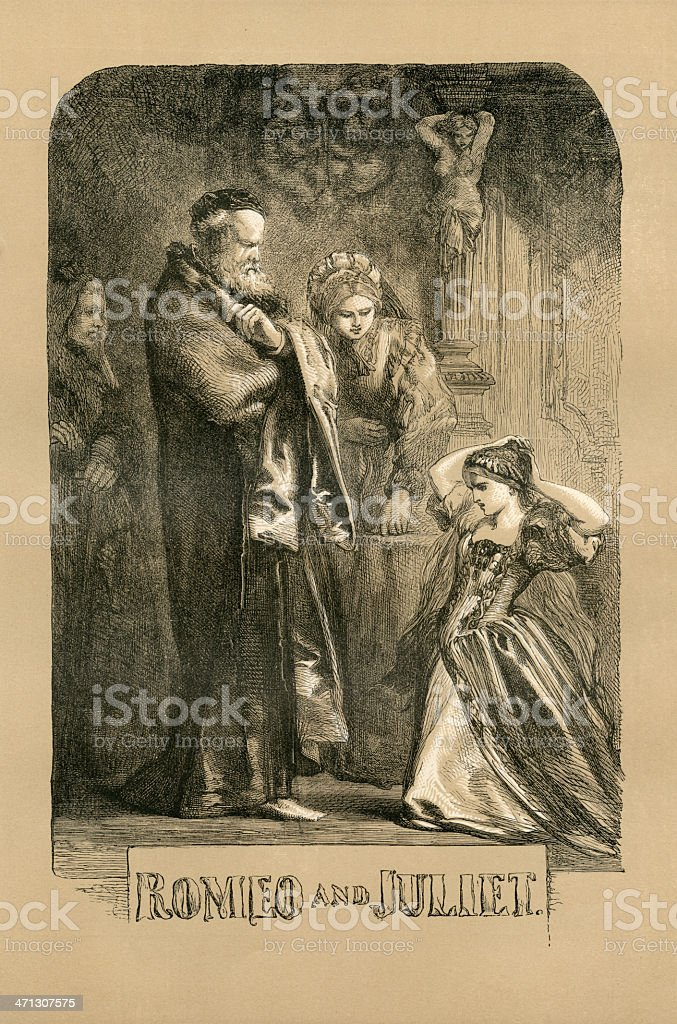 Shakespeare, Romeo and Juliet, Engraving vector art illustration