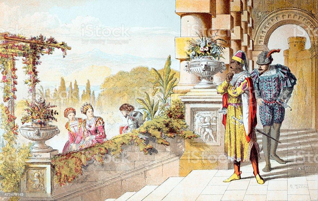 Shakespeare Scene from Othello vector art illustration