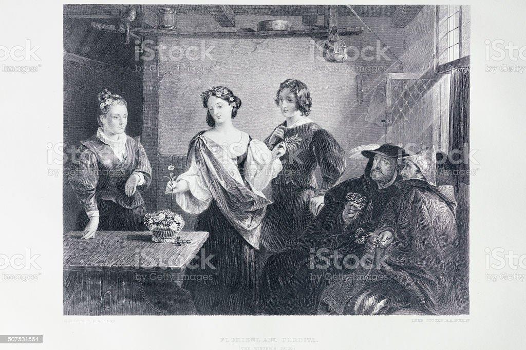 Shakespeare - The Winter's Tale vector art illustration
