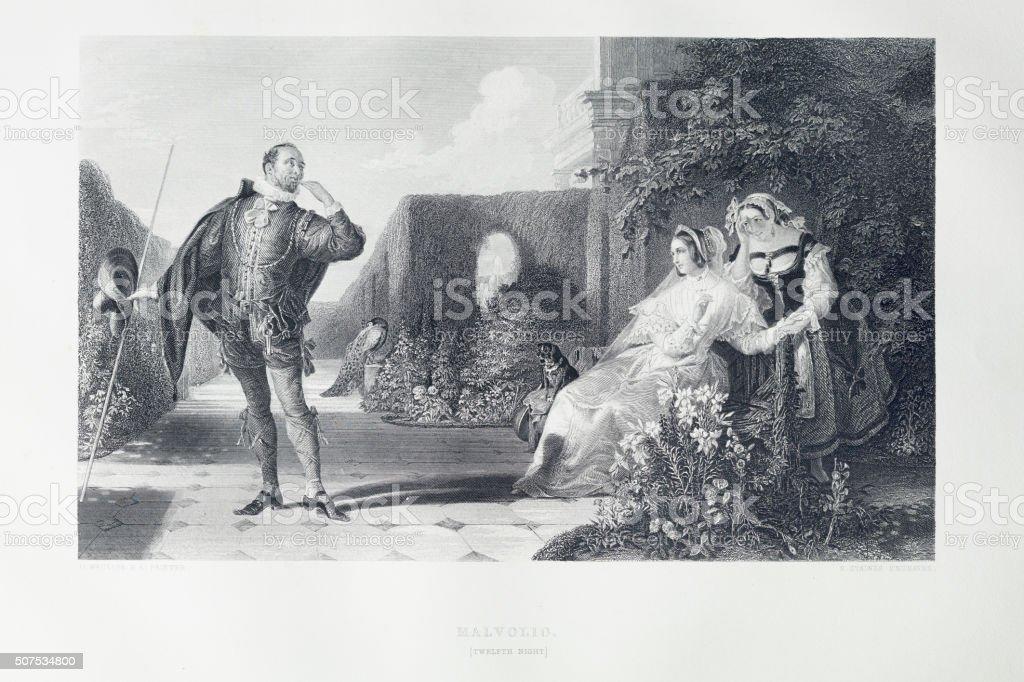 Shakespeare - Twelfth Night vector art illustration