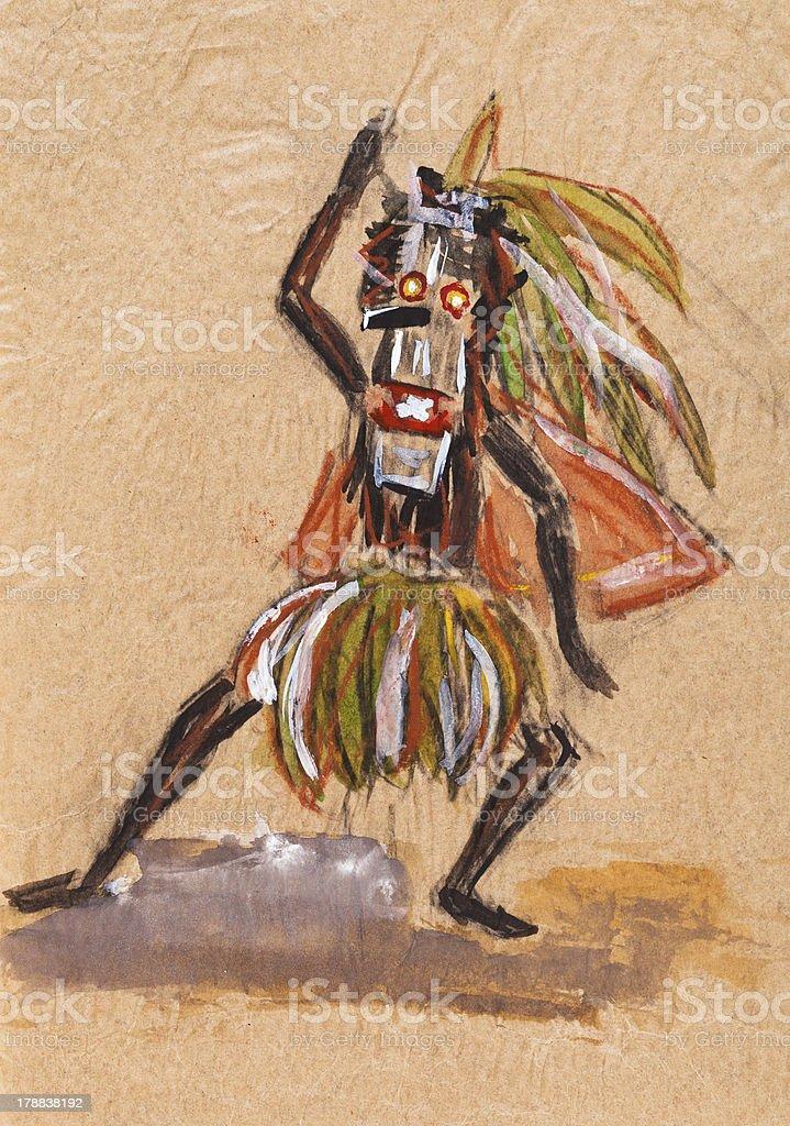 shaman in ritual mask royalty-free stock vector art