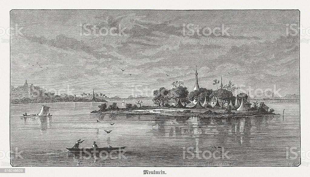 Shampoo Island near Mawlamyine, Myanma, wood engraving, published in 1873 vector art illustration