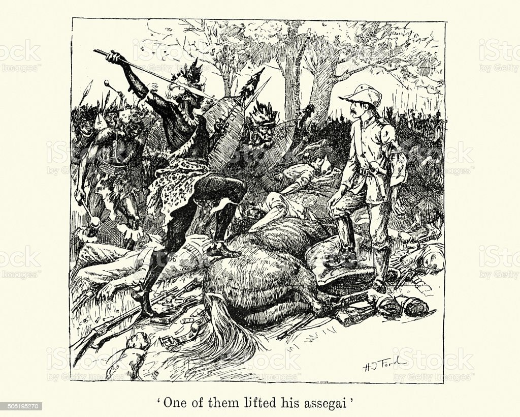 Shangani Patrol and Major Wilson's Last Stand vector art illustration