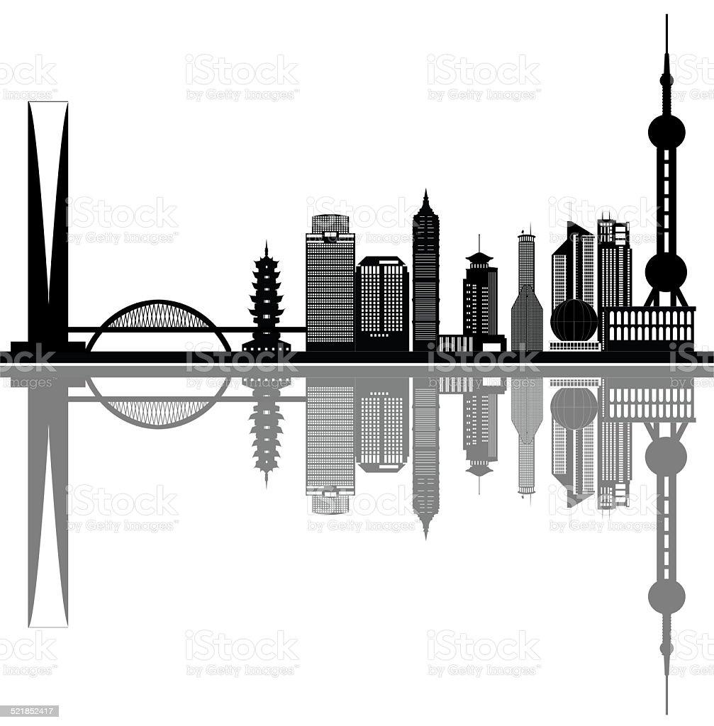 shanghai china city skyline vector art illustration