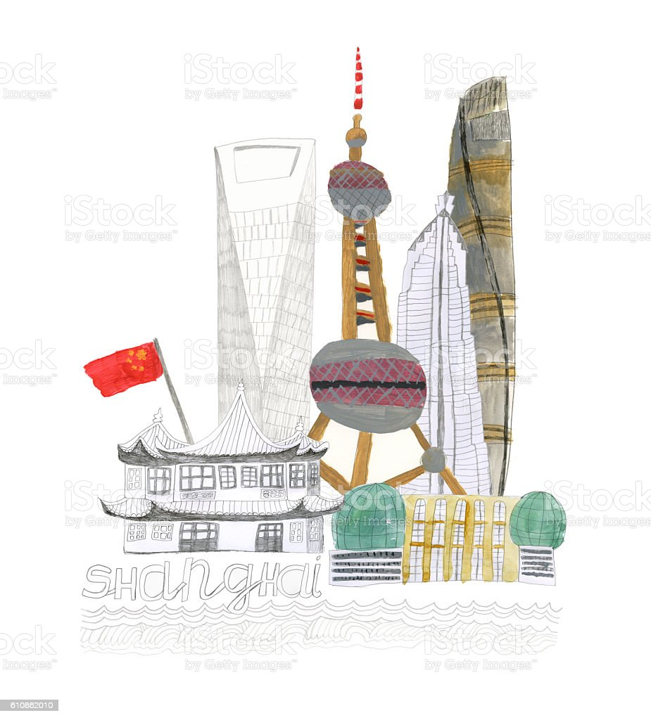 Shanghai city in China illustration vector art illustration