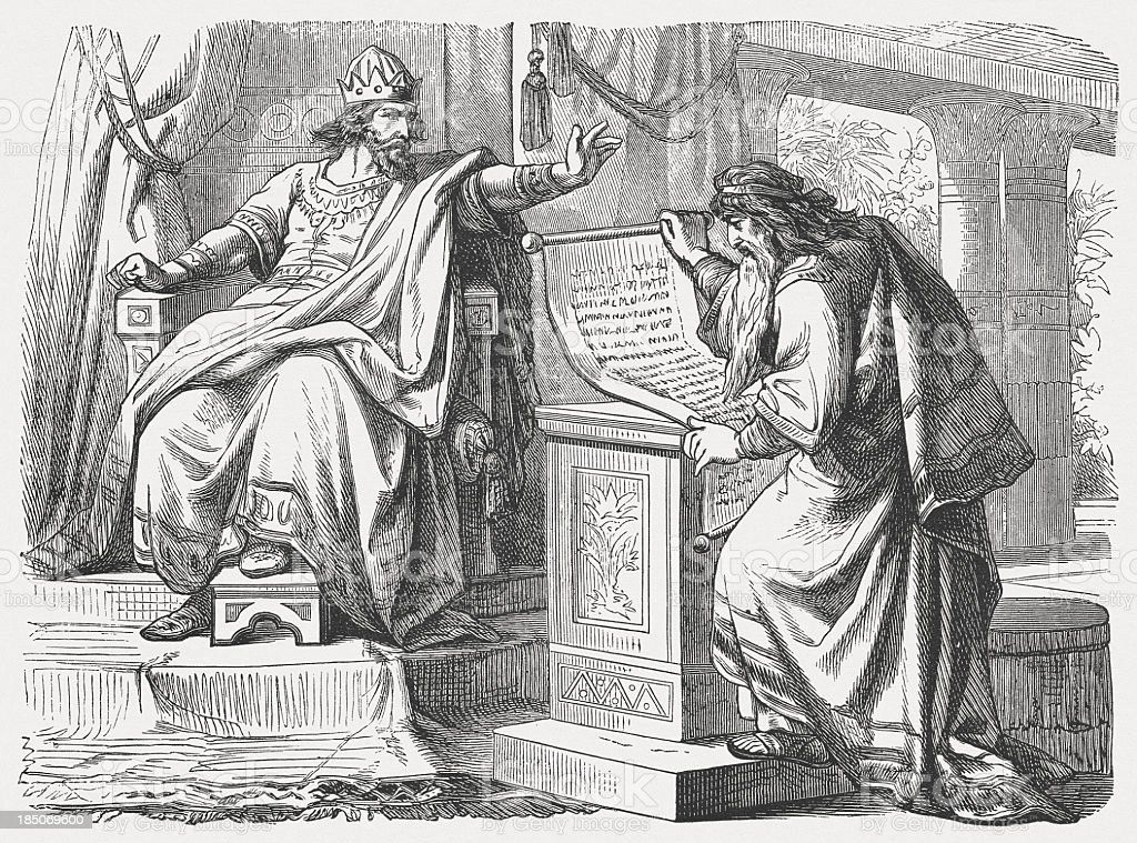 Shaphan before Josiah (2 Chronicles 34, 18-19) vector art illustration