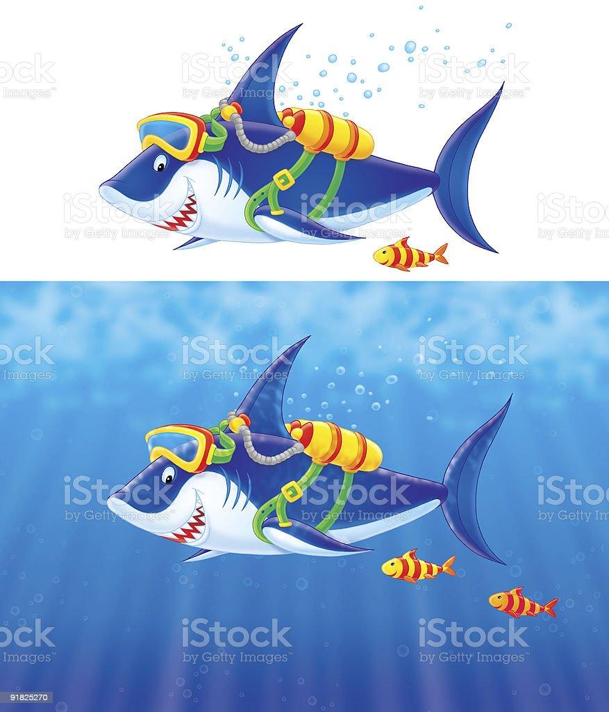 Shark Diver vector art illustration