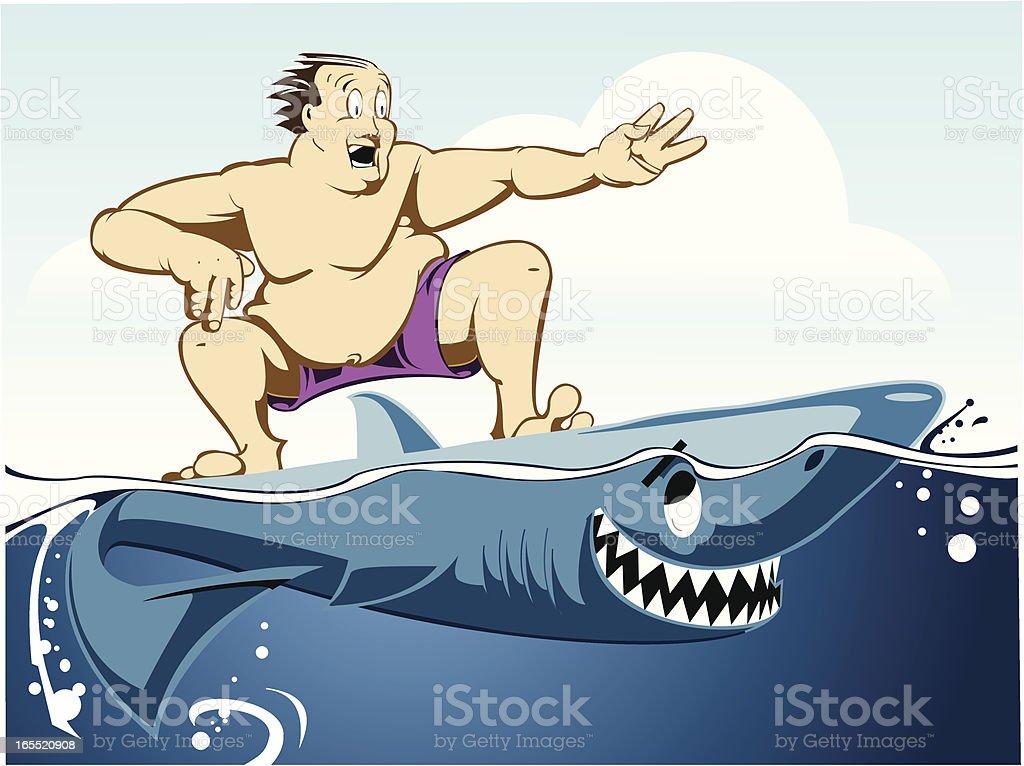 Shark surfing royalty-free stock vector art
