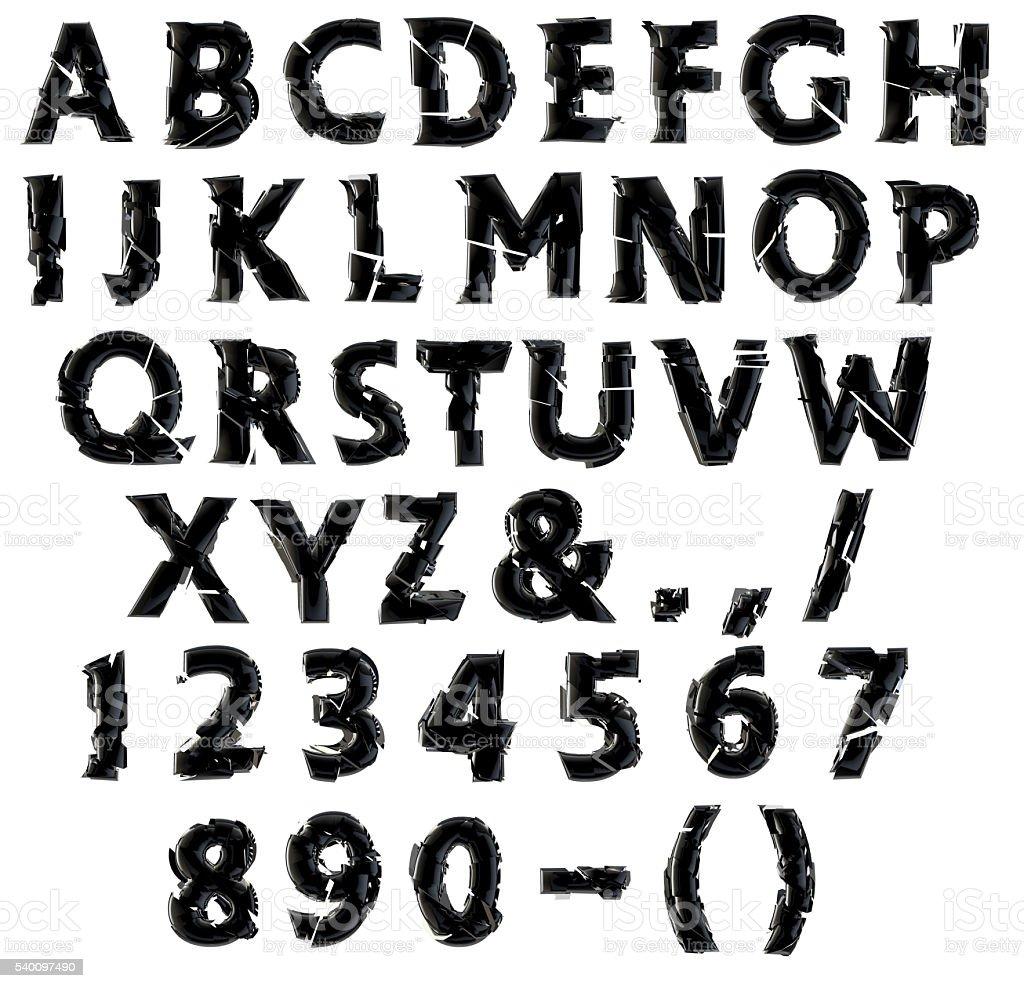 Shattered alphabet vector art illustration