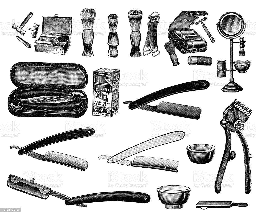 Shaving accessories vector art illustration