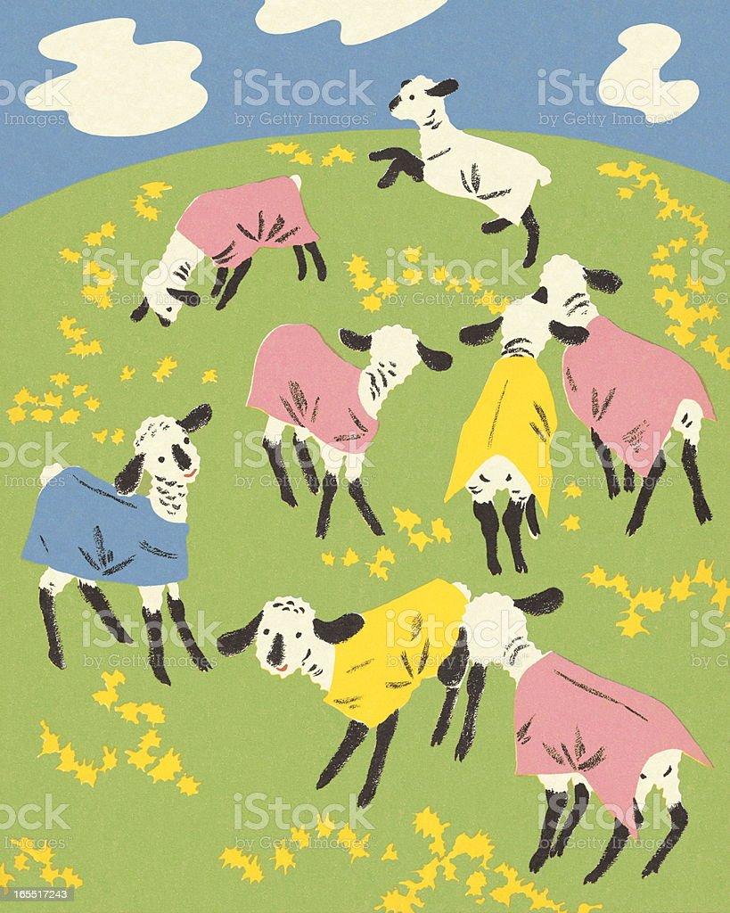Sheep in a Pasture royalty-free stock vector art