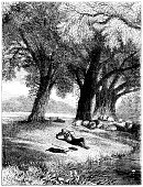 Shepherd and dog asleep while sheep graze (1875 illustration)