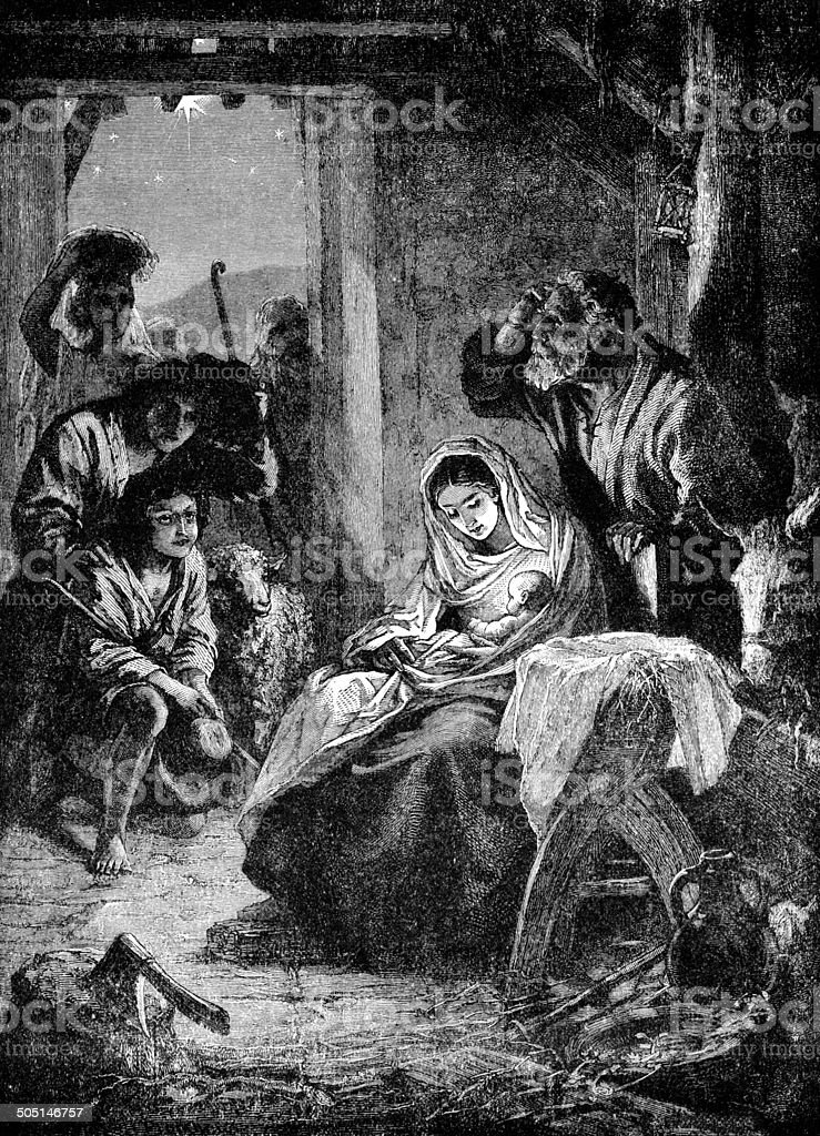 Shepherds Visiting Baby Jesus vector art illustration