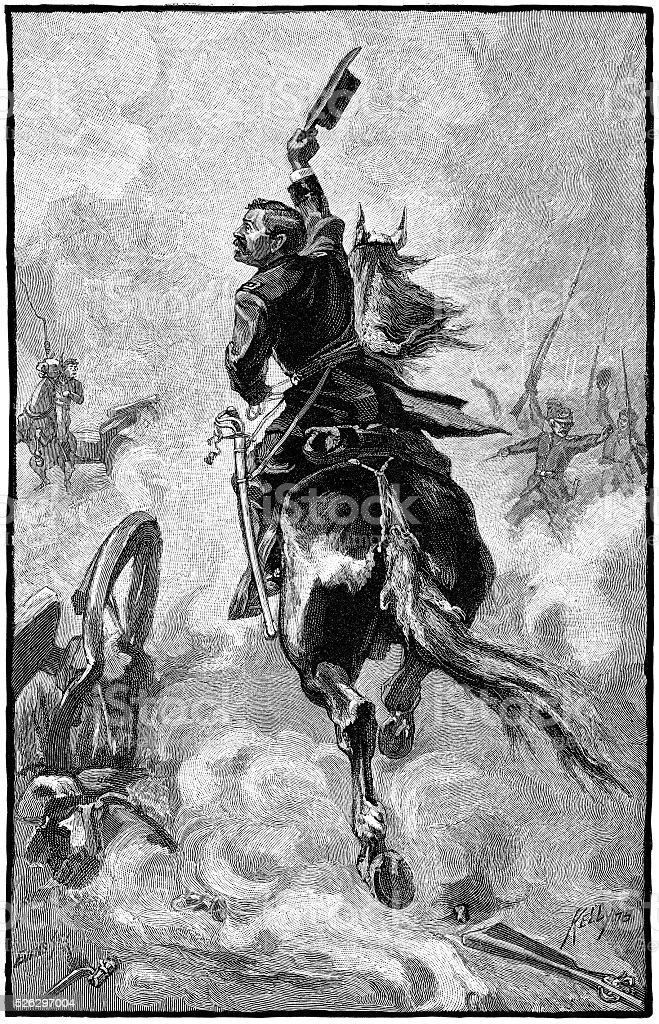 Sheridan's Ride from 1880 Book Illustration stock photo