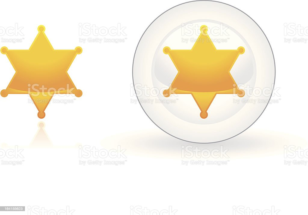 Sheriff symbol and button vector art illustration