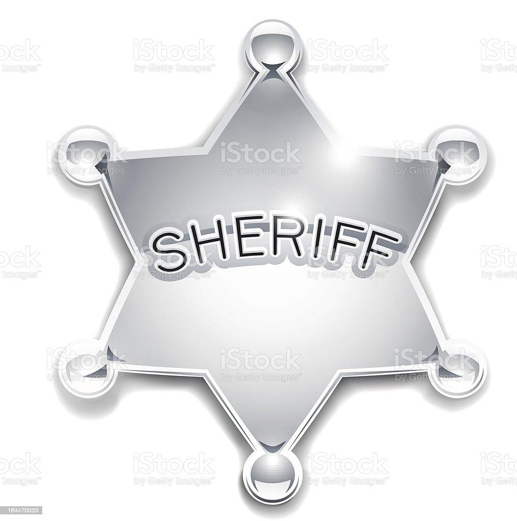 sheriff's metallic badge as star royalty-free stock vector art