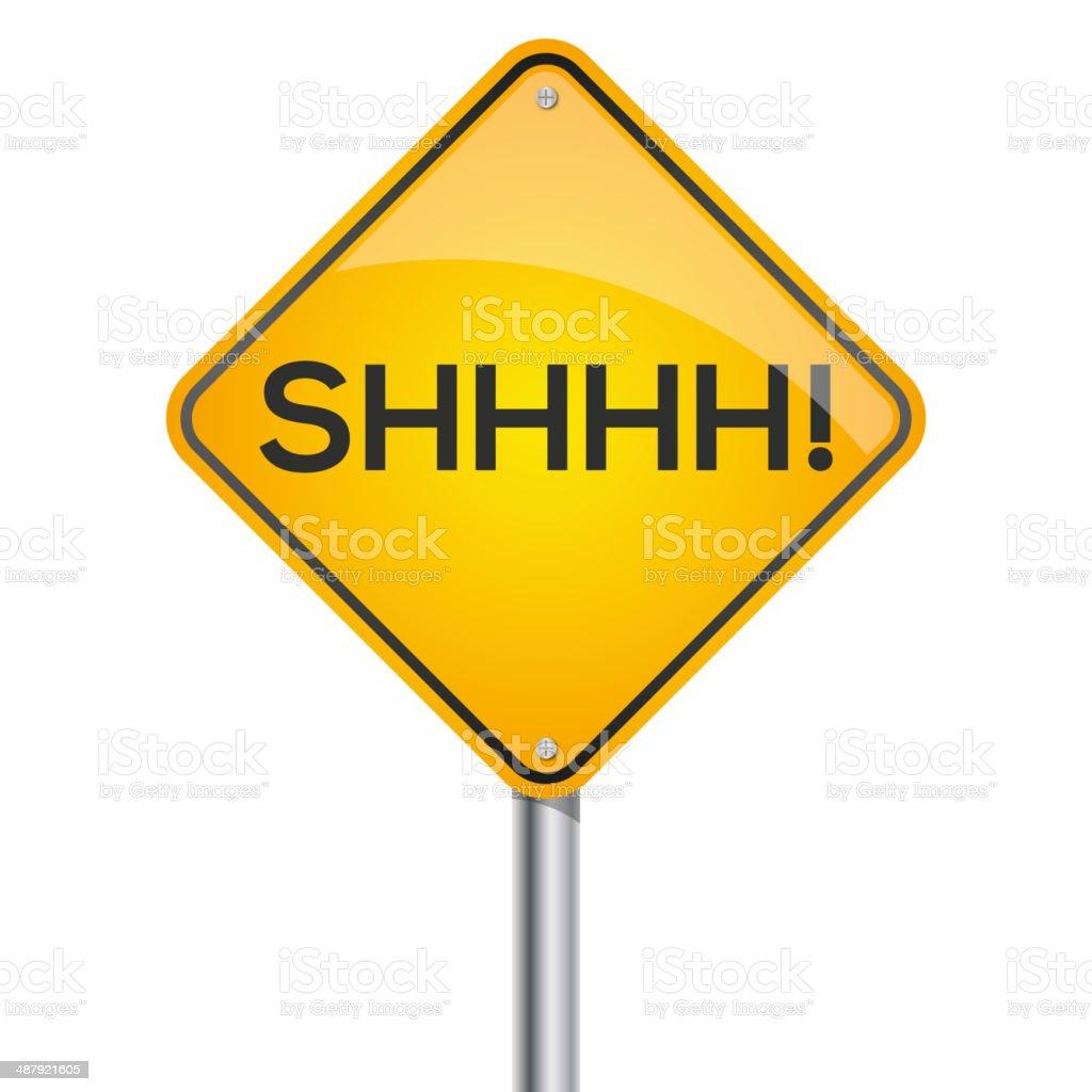 Shhh warning signpost vector art illustration