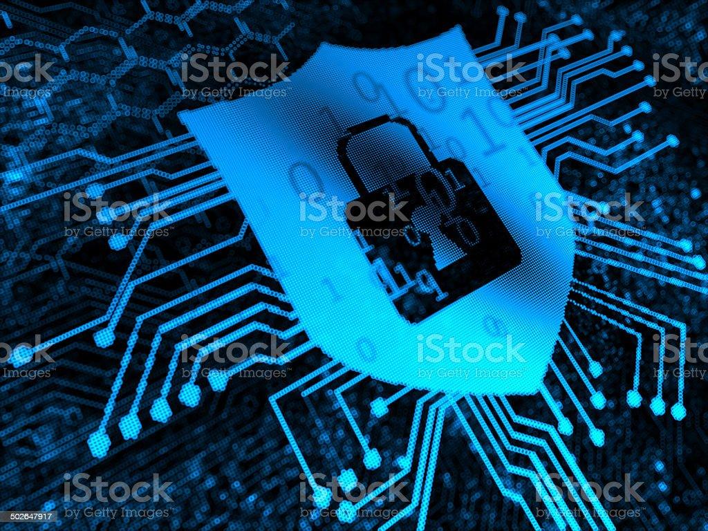 Shield Safety Lock Concepts vector art illustration
