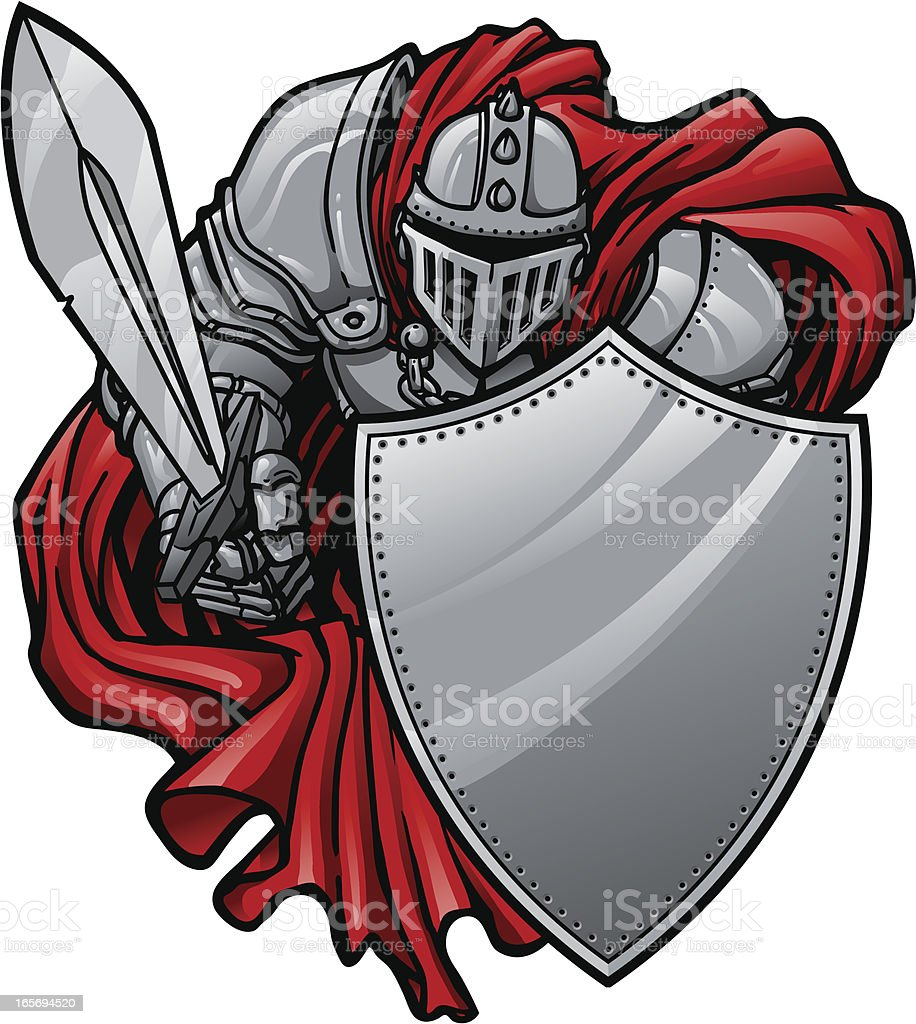 Shielding Knight vector art illustration