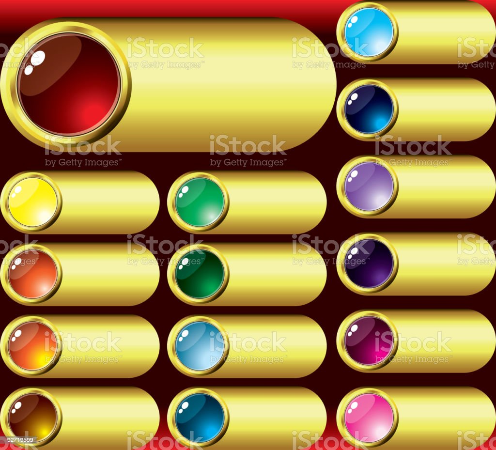 Shining buttons with tables royalty-free stock vector art